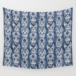 AZTEC MUERTOS Watercolor Indigo Skulls Wall Tapestry