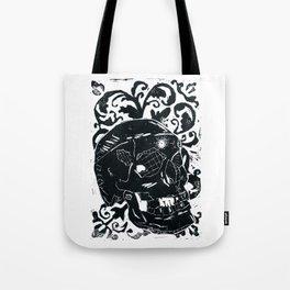 Black Lino Skull Tote Bag
