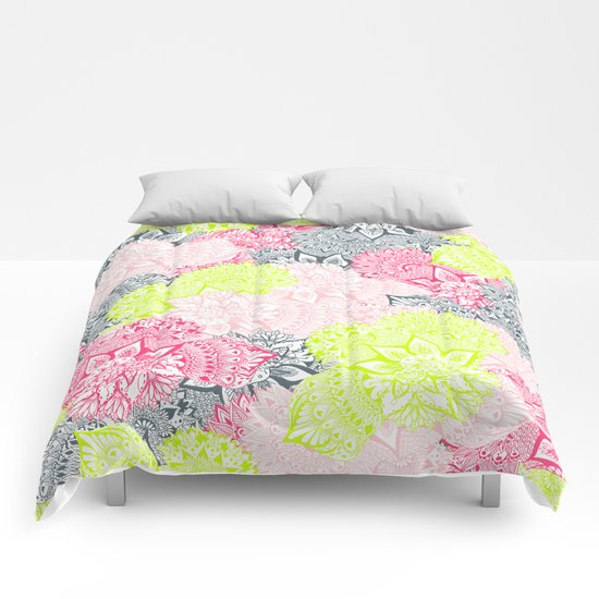 Bright neon yellow henna floral paisley pattern  Comforters