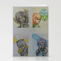 dc comics Stationery Cards featuring DC: Batgirls by aka-noodle