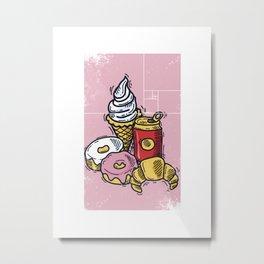 Geometric Print • Cartoon Desserts Metal Print
