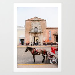 Horse Carriage in Downtown Merida, Mexico Art Print