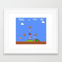 mario bros Framed Art Prints featuring Super Mario Bros by Trash Apparel