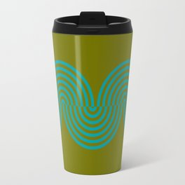 groovy minimalist pattern aqua waves on olive Travel Mug