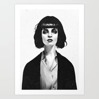 pencil Art Prints featuring Mrs Mia Wallace by Ruben Ireland