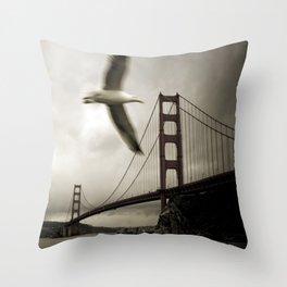 Seagulls over Sausalito Throw Pillow