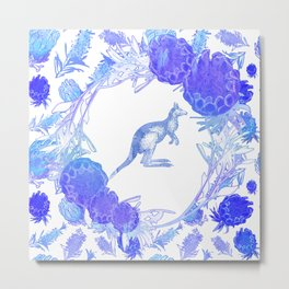 Beautiful Australian Floral print with Kangaroo Metal Print
