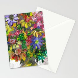"""""""Flowers in Vase"""" Acrylic Mixed Media Painting Stationery Cards"""