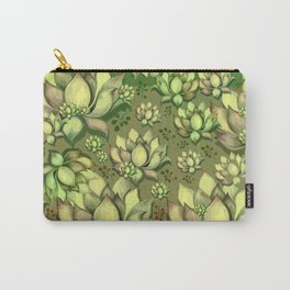 """Green Sun Succulents pattern"" Carry-All Pouch"
