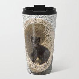 Black kitten in Portugal Travel Mug