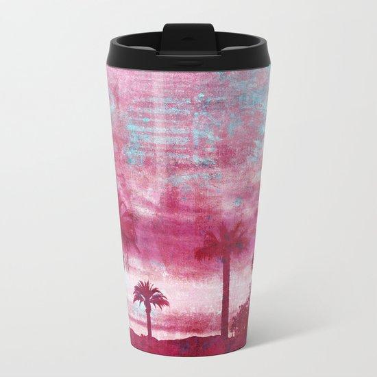 Pacific Island Grunge Look Mixed Media Art Metal Travel Mug