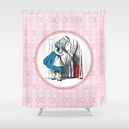 Alice in Wonderland | Alice finds Key and the Door to Wonderland | Pink Damask Pattern | Shower Curtain