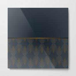 Art Deco Gold/Navy Pattern Metal Print