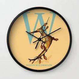 W is for Weedy Sea Dragon: Under Appreciated Animals™ ABC nursery decor orange unusual animals Wall Clock