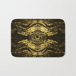 All Seeing eye golden texture on aged wood Bath Mat