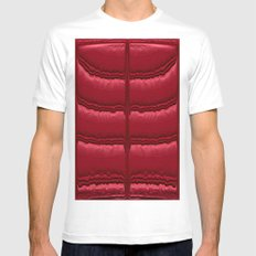 Abstract Red Quilt    Mens Fitted Tee MEDIUM White