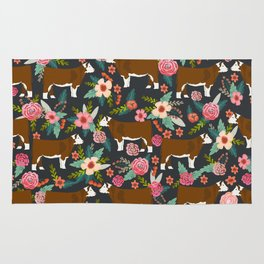 Hereford Cattle breed floral farm homestead gifts cow art florals Rug