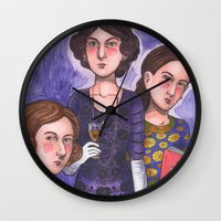 sisters Wall Clocks featuring Sisters by Anna Gogoleva