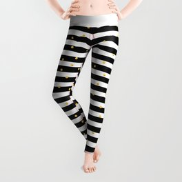 Modern black white gold polka dots striped pattern Leggings