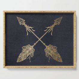 Arrows Gold Copper Bronze on Navy Blue Serving Tray