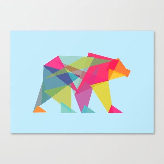 Fractal Bear - neon colorways Canvas Print