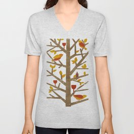 birds and wine Unisex V-Neck