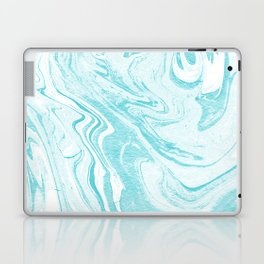 Giro - spilled ink abstract marble watercolor japanese painting marbling unique mint pastel  Laptop & iPad Skin