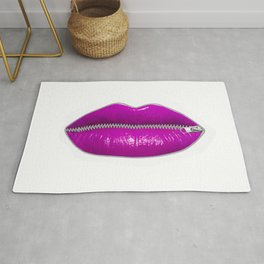 Lucious purple lips with zipper Rug