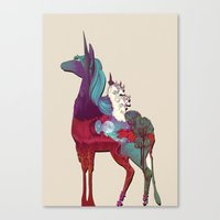 the last unicorn Canvas Prints featuring The Last Unicorn by nellfoxface