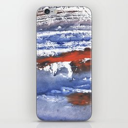 Blue gray stained aquarelle pattern iPhone Skin