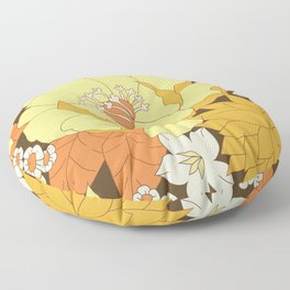 Yellow, Orange and Brown Vintage Floral Pattern Floor Pillow