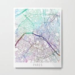 Paris City Map Watercolor Blue by zouzounioart Metal Print