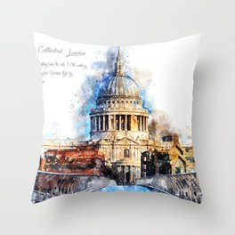 St. Pauls Cathedral, London Throw Pillow