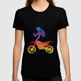 Boy Motocross Trick Colorful Watercolor Art Gift Dirt Bike T-shirt