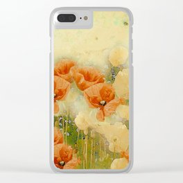 Vintage Poppies Clear iPhone Case