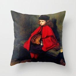 """John Everett Millais """"My First Sermon"""" Throw Pillow"""