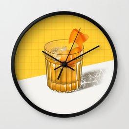 Orange Cocktail Illustration Wall Clock