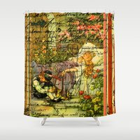 sleeping beauty Shower Curtains featuring SLEEPING BEAUTY by Bones and Balloons