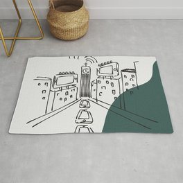 cell phone city (off black) Rug