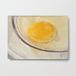 'Humpty Horror' Egg Yolk on Plate Still Life Realistic Oil Painting Metal Print