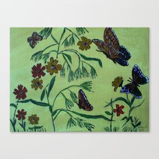 wildflowers and butterflies Canvas Print