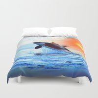 orca Duvet Covers featuring Orca Queen by JT Digital Art