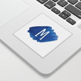 Letter M Blue Watercolor Sticker