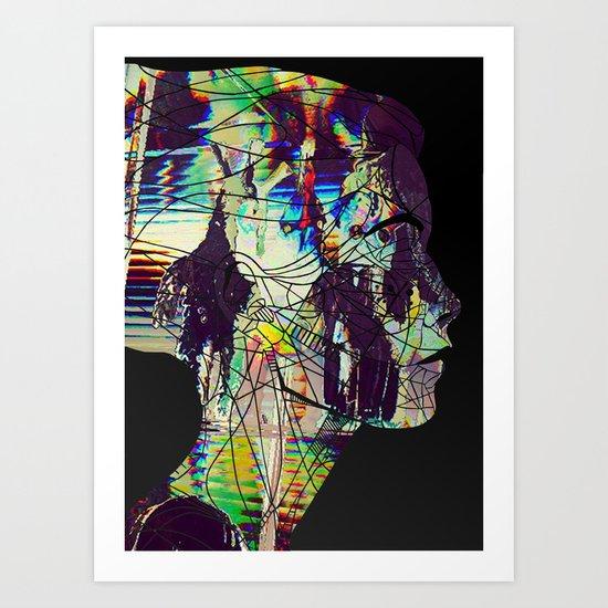 Glitched Girl Art Print