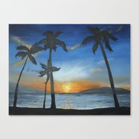 postcard Canvas Prints featuring postcard by Angela Lynn Harmon