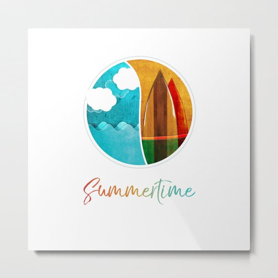 Summertime // Sea Surf and Fun Metal Print