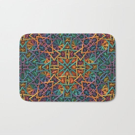 Colorful Fractal Pattern Bath Mat