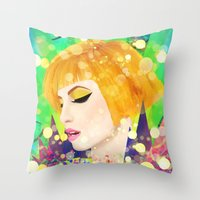 hayley williams Throw Pillows featuring Digital Painting - Hayley Williams - Variation by EmmaNixon92