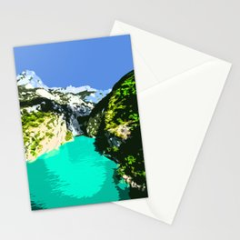 Mountains, River and Blue Sky Stationery Cards
