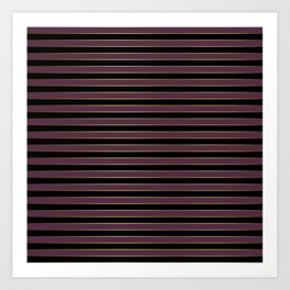 Black Gold and Purple Queen Elizabeth the Second Royal Stripes Art Print